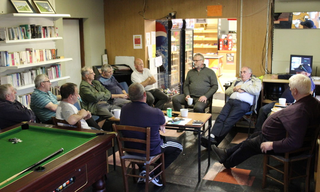 What happened at the first ever meeting of the Pullough Men's Shed?