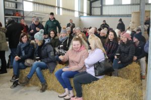 Some of those gathered in the Corrigans' barn to learn more about social farming