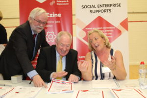 Michael Ring with SDCP CEO Larry O'Neill and social enterprise development officer Emily Smart