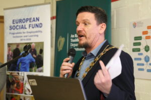 Cllr Mark Ward, mayor of South Dublin County Council, speaking at the event