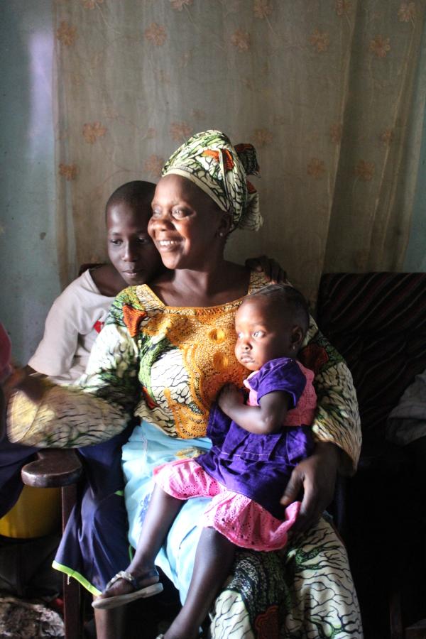 Sally, Jarjue and Kunda Badjie, pictured at a naming ceremony in Busumbala