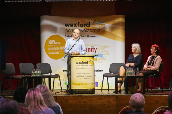 Michael Wall, Chair of Wexford Local Development, on stage at the event