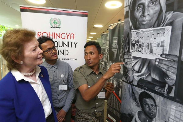 Former President of Ireland Mary Robinson meets Rohingya activists