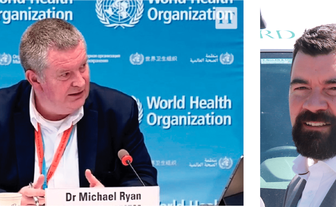 Dr Mike Ryan of WHO and Minister Joe O'Brien for community conference